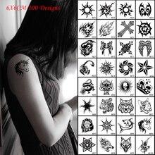 Hot 6x6cm Black Waterproof Temporary Small Tattoo Sticekers Dragon/Cat/Wolf/Cross/Unicorn/Scorpion Fake Tattoos Body Art 10pcs