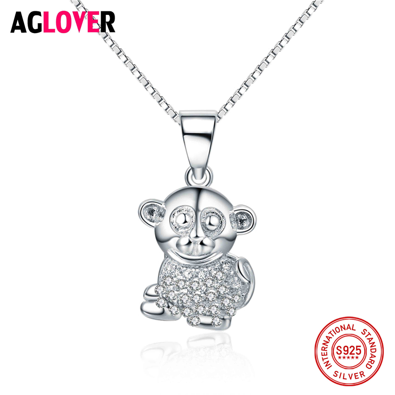 Authentic 100% 925 Sterling Silver Lovely Monkey Exquisite Women Pendant Necklace Luxury Chain Jewelry
