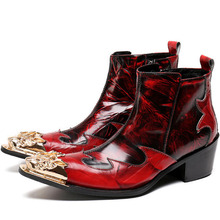 Kaeve Red Fashion Men Shoes Autumn Snow Ankle Boots Slipper Metal Pointed Toe Zipper Shoes Men Flats Military Cowboy Boots mabaiwan handmade rivets men shoes snow ankle boots metal pointed toe leather wedding shoes men s flats military chelsea boots