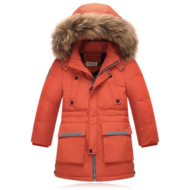 2017 Children school kids big boy long jacket fur hooded duck down coat kids parkas thick overcoat for -30 degree Russia winter fashion long parka kids long parkas for girls fur hooded coat winter warm down jacket children outerwear infants thick overcoat