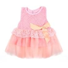 Baby Girls Sleeveless Lace Crochet Princess Dress Kids With Bow Belt Party Dresses j2