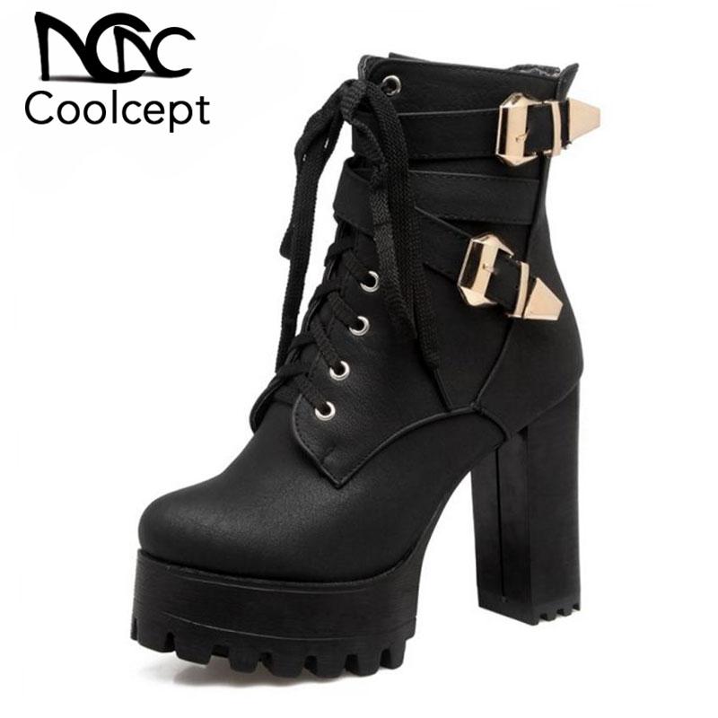 5550950e699 Coolcept tamaño 33-48 señoras tacón alto botas de plataforma de las mujeres  del dedo del pie redondo hebilla de Metal tacones gruesos de invierno  cálido ...