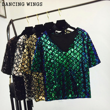 DANCING WINGS summer style V neck sequined T-shirt female diamond short sleeve