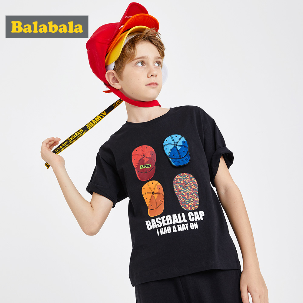Tshirt Balabalaboy Top-Tees Short-Sleeve Cotton Children's Summer New Wear Big Tide