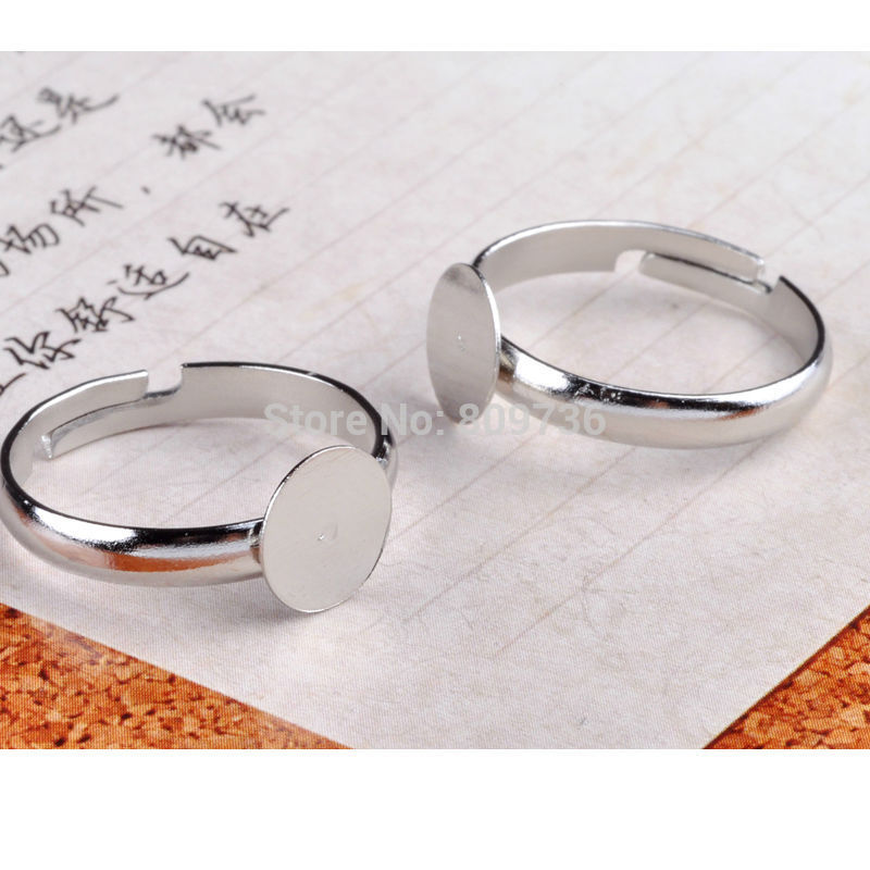 20pcs/lot Silver Plated Flat Ring Jewelry Findings Pad Bases Blanks 3Sizes Fashion Accessories Adjustable Wholesale