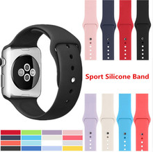 50pcs/lot Soft Silicone Replacement Sports watch Band For 38mm 42mm Apple Watch Series1 2 3 4 Wrist Bracelet Strap