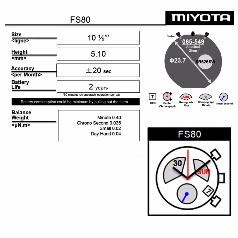 MIYOTA FS80 3 EYES Chronograph Date Day At 4H Position Watch Movement