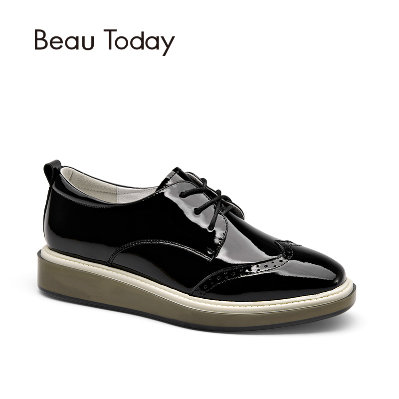 BeauToday Wingtip Oxfords Shoes Women Lace-Up Genuine Patent Cow Leather Shoes for Ladies Square Toe Brogue Style Flats 21082 2017 women genuine leather brogue flats shoes patent leather lace up pointed toe luxury brand red blue black pink creepers