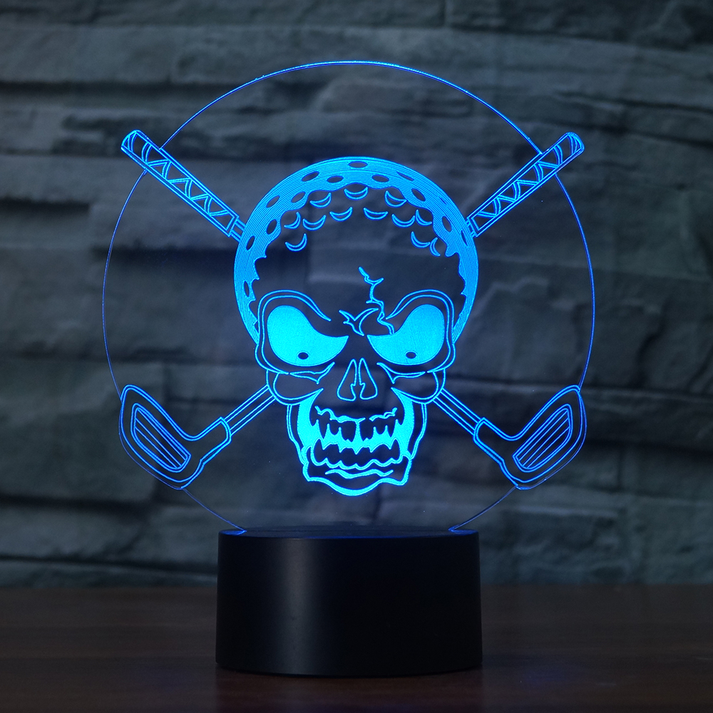 Personality 3D golf skull head shape colorful night light 7 color touch switches for room decoration club gifts