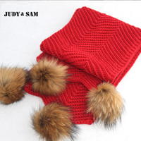 6 24months Baby Knitted Wool Sarves Hand Crochet with Real Natural Raccoon fur Scarves for Neck Warm Baby Winter Scarf