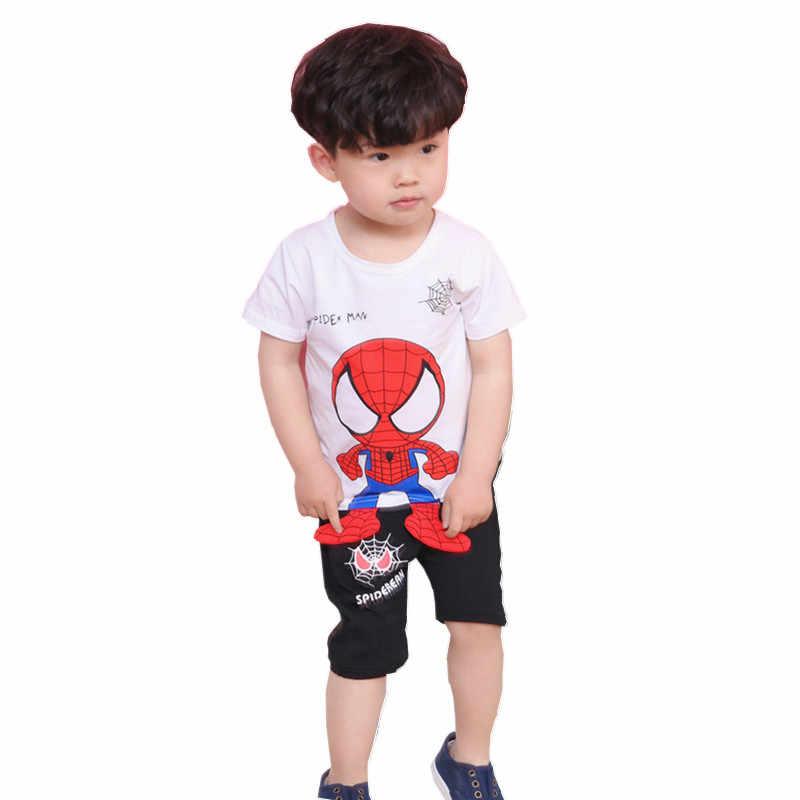 Детская летняя хлопковая спортивная одежда с короткими рукавами комплект из