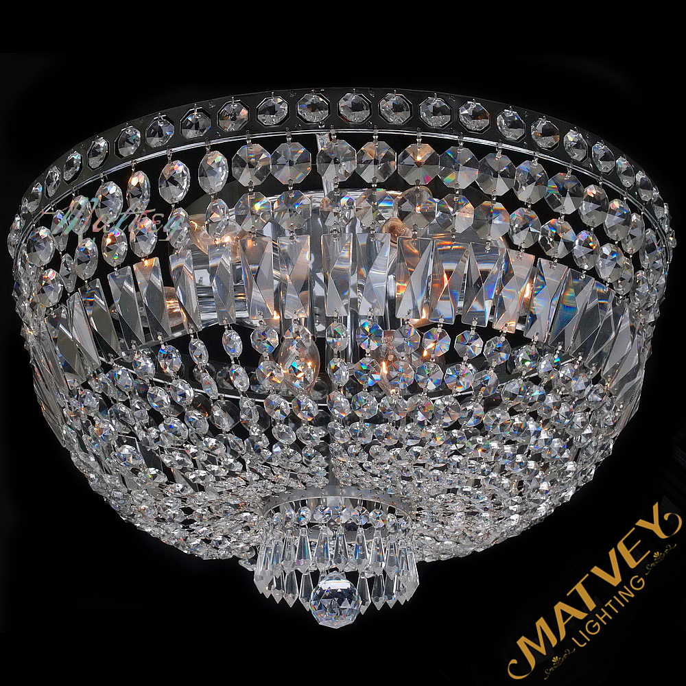 Modern crystal ceiling lamp for room, chrome body + clear crystal,  in stock, quick delivery