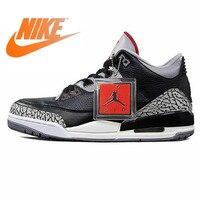 Оригинальный Nike Оригинальные кроссовки Air Jordan 3 черный цемент AJ3 Для мужчин Мужская баскетбольная обувь Спорт на открытом воздухе спортивна
