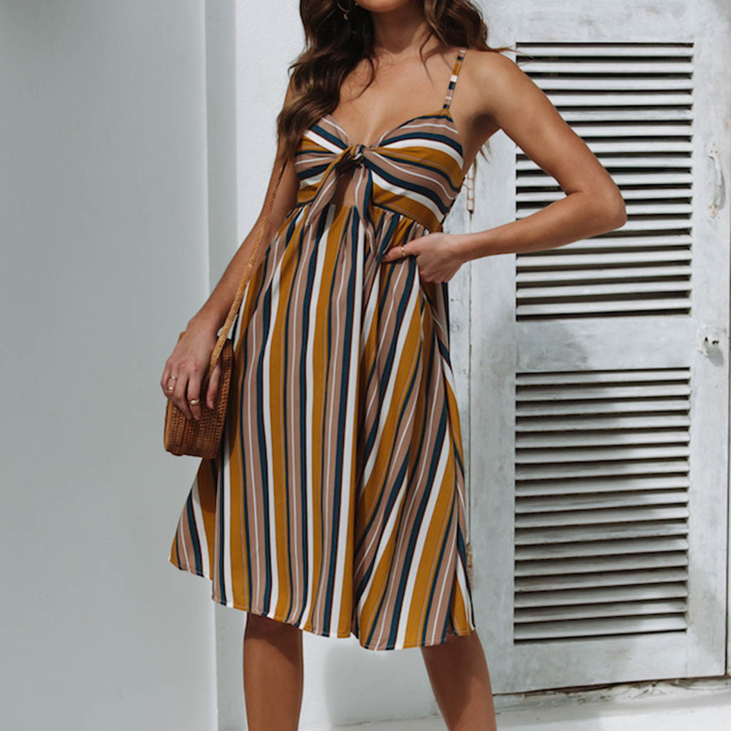 Womail 2019 New Fashion Striped Printed Summer Beach Bow Design Polyester Material Sleeveless V-Neck Women Dress 19APR30