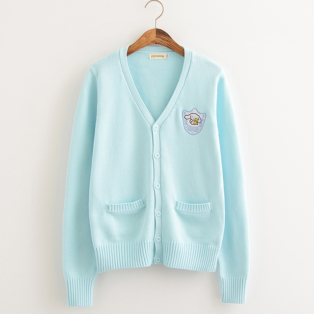 Cartoon embroidery Big ear dog Cherry pink/Almond/Water Blue Soft Knitted cotton sweater long-sleeved cardigan uniform cos JK 2