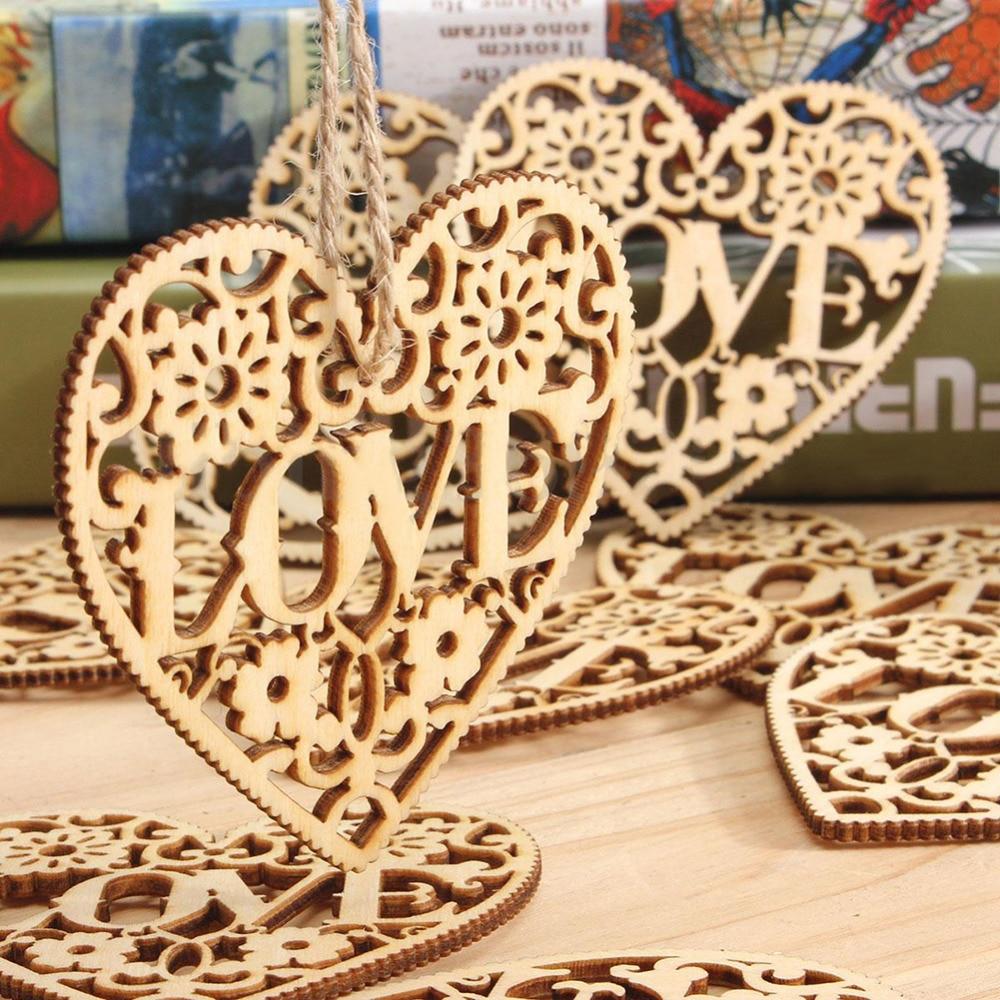 10PCS Wooden LOVE Heart Wedding Hanging Decoration Craft Car Hanging ...