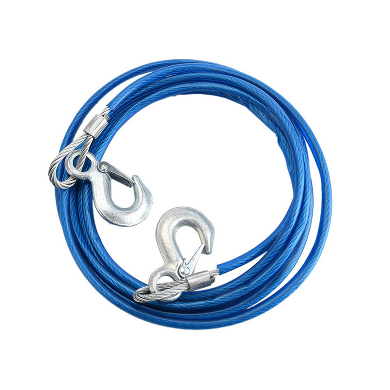 Image 5 - Heavy Duty Tow Ropes 4M 5 Tons Wire Cable High Strength Safety Hook Steel Wire Trailer Car Emergency Towing Rope-in Towing Ropes from Automobiles & Motorcycles
