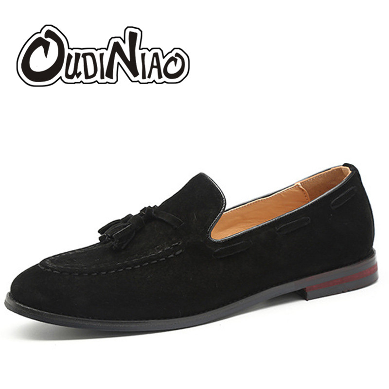 OUDINIAO Tassel Fringe Cow Suede Mens Shoes Casual Big Sizes Pointed Toe Slip On Shoes Men Loafers Boat Men Shoes Luxury 2018 suede slip on mens shoes