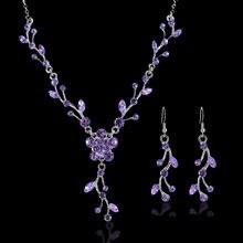 Women Wedding Bridal Jewelry Crystal Rhinestone Necklace Earrings Party Set