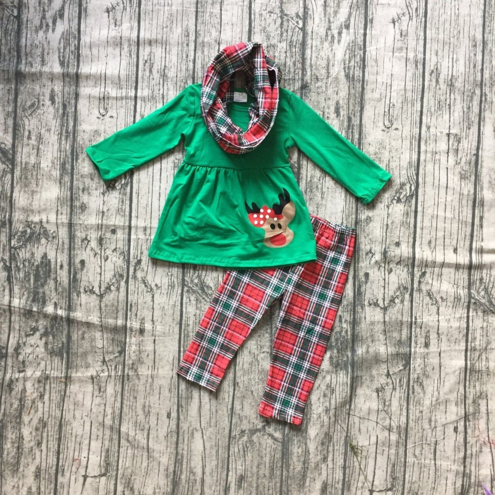 baby girls 3 pieces with scarf sets girls Christmas reindeer print green top with plaid long pants outfits Christmas clothing girls slogan print tee with striped pants
