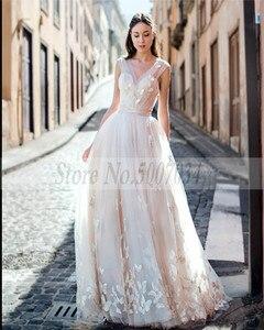 Image 3 - Smileven Boho 웨딩 드레스 2019 3D Appliques 신부 드레스 Vestido De Novia V 넥 나비 웨딩 드레스 Robe De Mariee