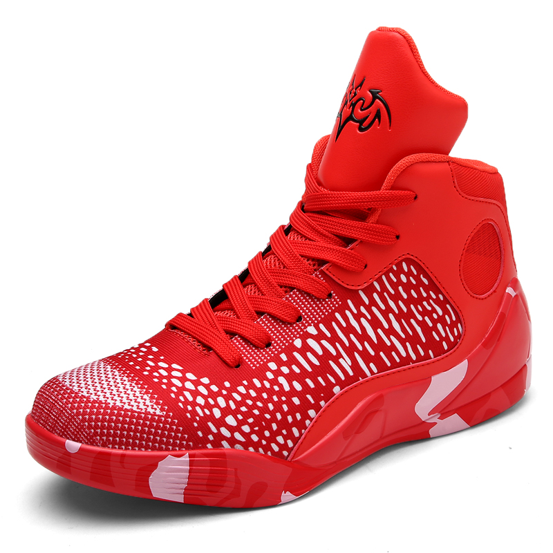 2018 Brand Basketball Shoes Men High top Sports Air Cushion Jordan Hombre Athletic Mens Shoes Leather Breathable Red Sneakers