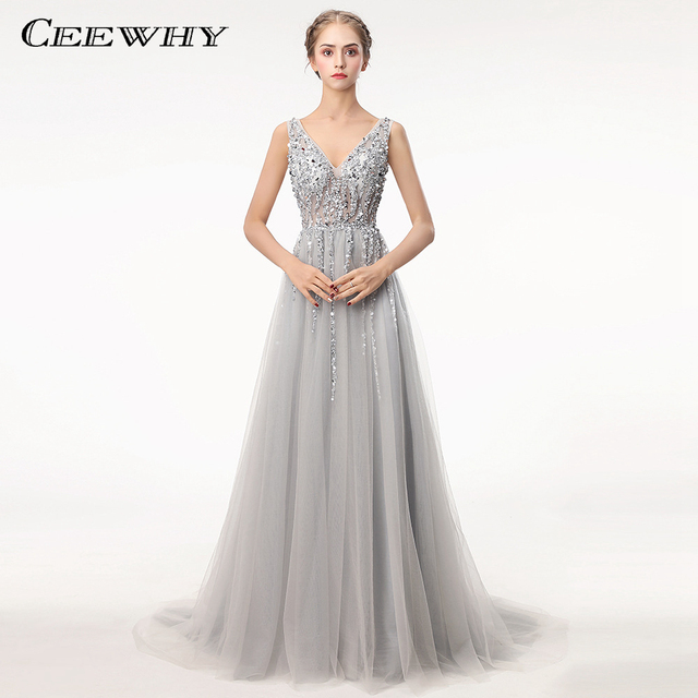 CEEWHY Real Photo Crystal Beaded Evening Dresses 2018 Long Prom Evening  dress Elegant Deep V Backless Evening Gown Vestido Longo 504d8bc57e44