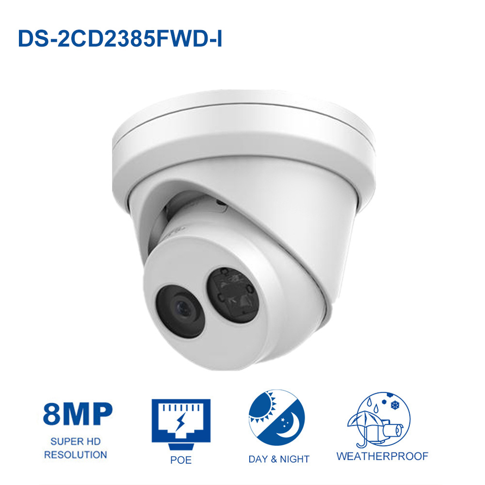 HiK Original DS-2CD2385FWD-I H.265 CCTV IP Camera 8MP Network Turret Camera Built-in SD Card Slot PoE IP 67 IR 30m hik multi language ds 2cd6412fwd camera ds 2cd6412fwd c2 poe pinhole covert separated network camera for shop home surveillance