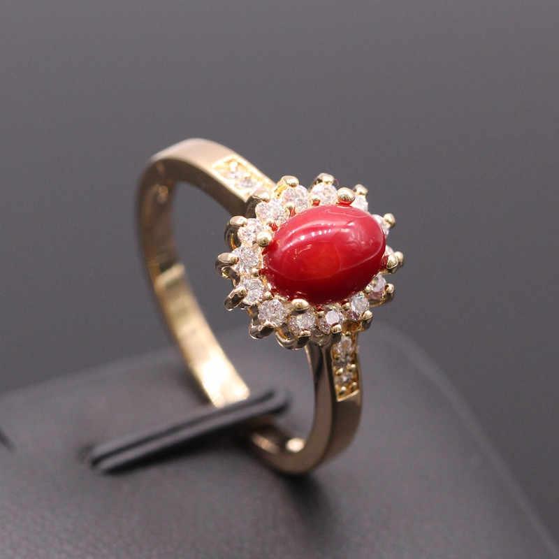 GZJYแฟชั่นใหม่สีแดงปะการังร็อคAAAประดับเพชรแชมเปญสีทองดอกไม้ต่างหูแหวนชุดเครื่องประดับสำหรับผู้หญิง