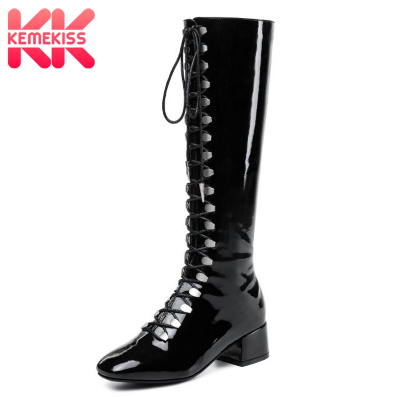 KemeKiss Size 33-43 Women Long Boots Cross Strap Woman Shoes Patent Leather High Heels Boots Winter Fashion Ladies FootwearKemeKiss Size 33-43 Women Long Boots Cross Strap Woman Shoes Patent Leather High Heels Boots Winter Fashion Ladies Footwear