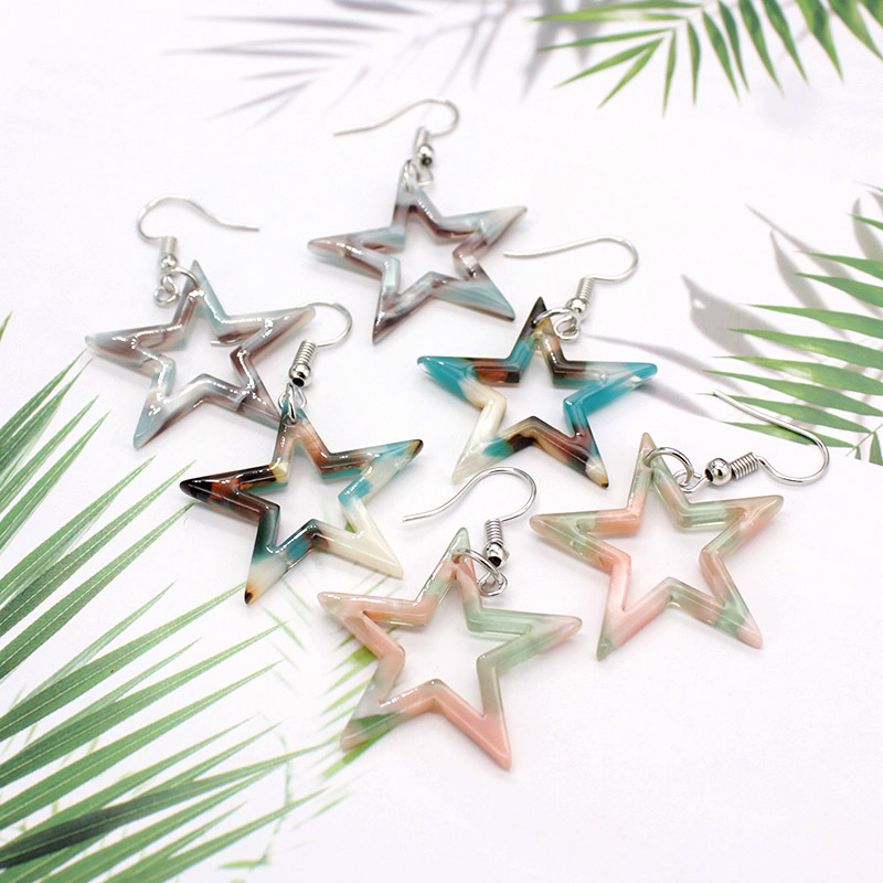 Bohemian Earrings New Floral Acrylic Sheet Earrings Hollowed Out Hit Color Five-pointed Star Acetate Earrings Resin Earrings