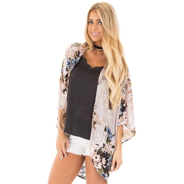 42b5a532081 2018 New Women Chiffon Kimono Cardigan Floral Print Casual Loose Outerwear  Beachwear Summer Beach XXXL Plus Size Swimwear Ropa