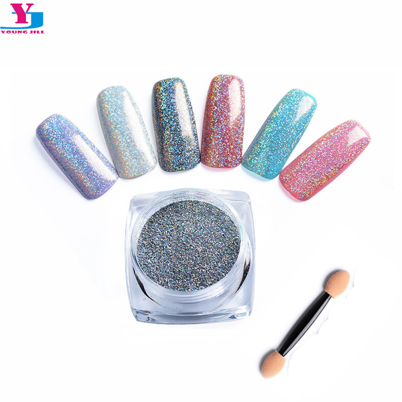 Extra Fine Holographic Chrome Nail Art Powder: 6pcs Holo Nail Fine Glitter Powder DIY Polish Holographic