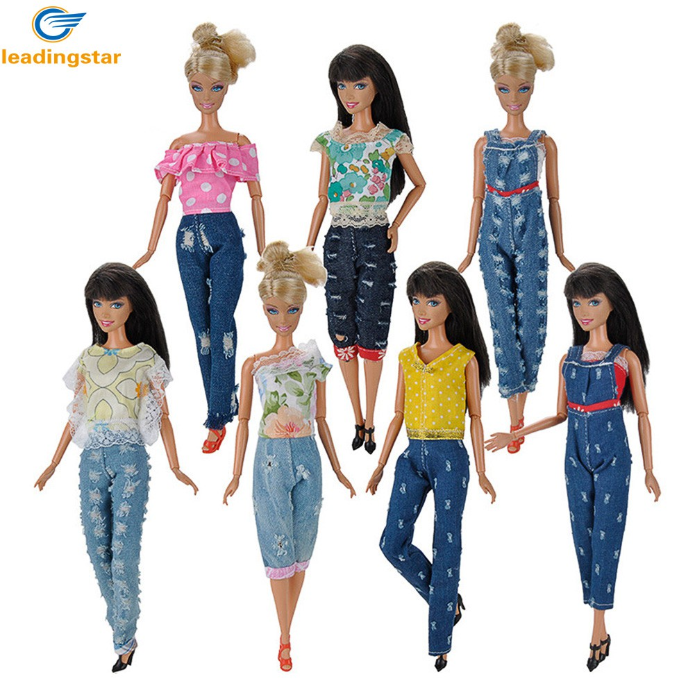 LeadingStar Cowgirl style Doll Clothes 3 Sets Jeans with Fashion T-shirts Casual Wearing for Barbie Doll  zk30 30 new styles festival gifts top trousers lifestyle suit casual clothes trousers for barbie doll 1 6 bbi00636