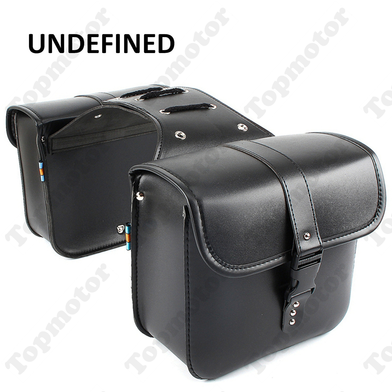 Motorbike Black PU Leather Motorcycle Parts Side Saddle Bags Tool Luggage Pannier Cruiser UNDEFINED