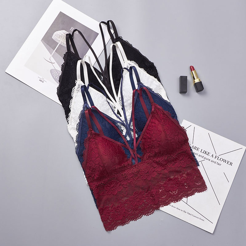 919e2dcc3d 2019 Embroidery Bra Women Wine Red Blue White Black Lace Bralette Plus Size  Bra Push Up Wireless Backless Sexy Bras for Women