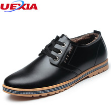 UEXIA Winter Men Shoes Plush Leather Warm Oxfords Dress Office Formal High Quality Shoes Men Warm Formal High Quality Wedding