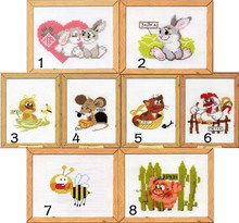 Mini picture cartoon cross stitch 14ct counted cloth unprinted embroidery cat mouse animal 8 pieces/lot Children room decoration(China)