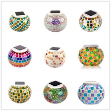 New Solar Powered Mosaic Glass Ball Garden Lights Colorful Changing Yard Balcony Lamps Waterproof Indoor Outdoor Light –M25
