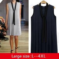 HANZANGL Plus Size Women Clothing Summer Fashion Sleeveless O Neck Pleated Dress All Match Loose