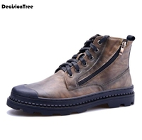 Fashion Men Microfiber Work Shoes Casual Solid Male Med Flat Heel Shose Autumn Round Toe British style Ankle Martin Boots Z419
