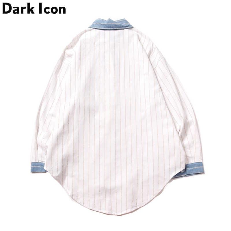 Темный Логотип Луна вышивка отложной полосатый рубашки 2019 Осень Новые негабаритные мужские рубашки с длинным рукавом белый/синий