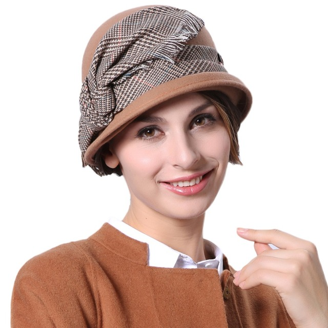 a550885989f June s Young Women Hats Wool Felt Hats Short Brim Brown Color Casual Style  Bow Decoration Funny Cap Winter Fashion Lady Fedoras