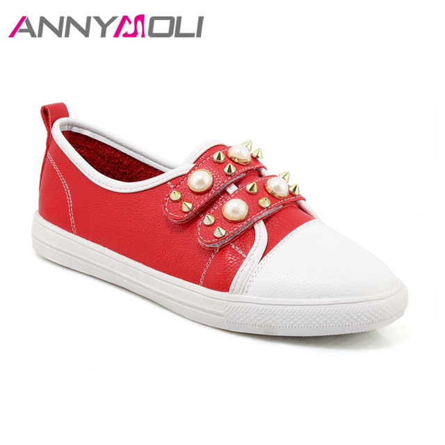 ANNYMOLI Shoes Women Flats Rivets Flat Shoes Round Toe Pearls Loafers 2018 Spring Casual School Shoes Red White chaussures femme 2