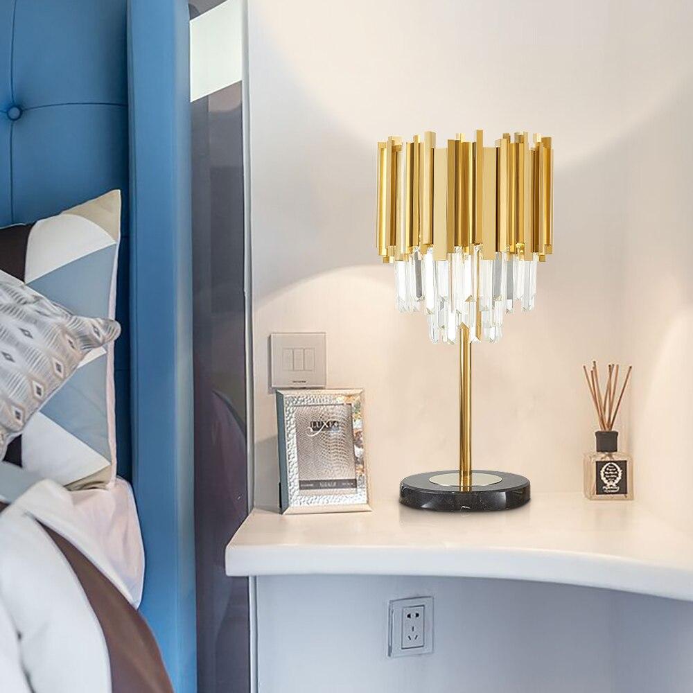 Modern Bedroom Table Lamp Gold Polished Steel Crystal Desk Decor Light fixtures 1