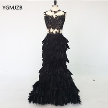 Luxury Evening Dress Long 2018 Mermaid Feathers Lace Sexy See Through Black Women Formal Party Gowns Prom