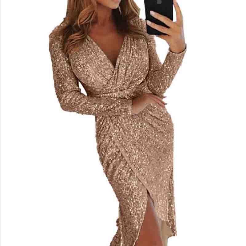 4f9c40754f Skup Tanie Nowe europejskie i amerykańskie panie seksowna sukienka z cekiny  z długim rękawem