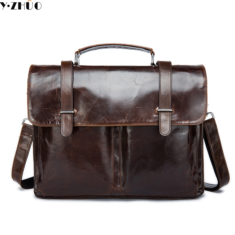 genuine leather man handbags really cowhide briefcase business men messenger shoulder bags brown men crossbody Laptop bag цена и фото