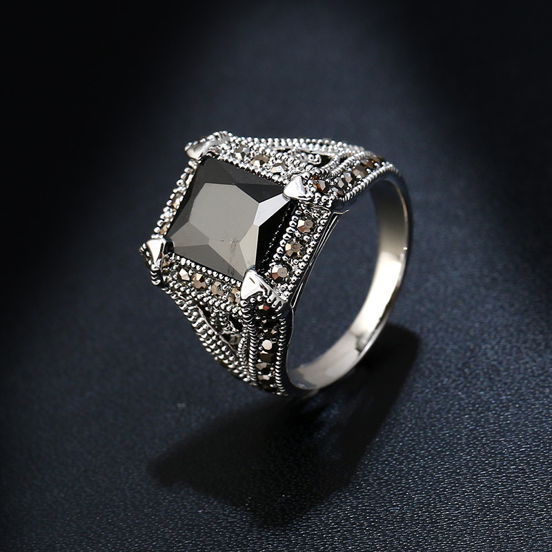Ks Gadgets Big Square Black Zircon Rings For Women Vintage Antique Silver Color Crystal Rhinestone Ring Stone Jewelry