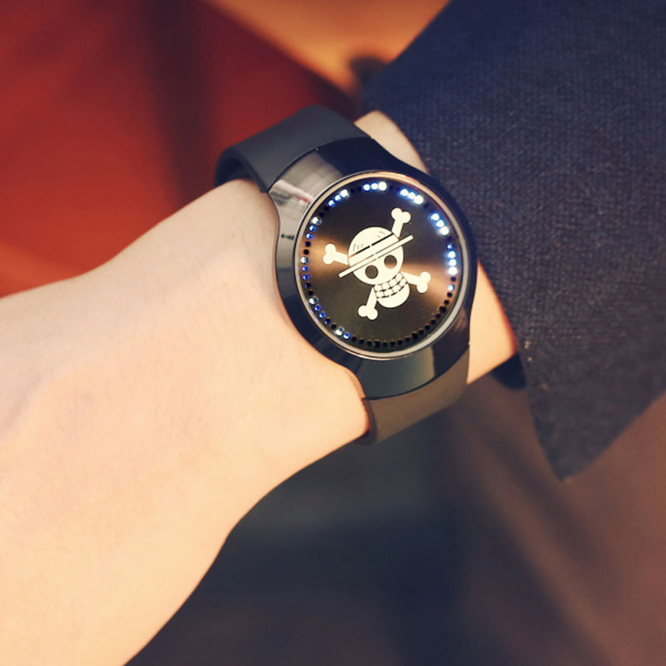 New Arrival Onepiece Skull Touch Screen Rubber Band Strap Business Stylish Sport Simple Analog Women Men Quartz Watch (5)